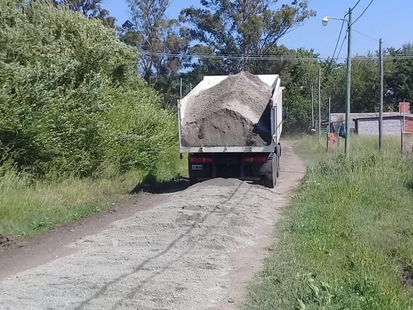 Colocaron polvo de piedra en el barrio Belgrano
