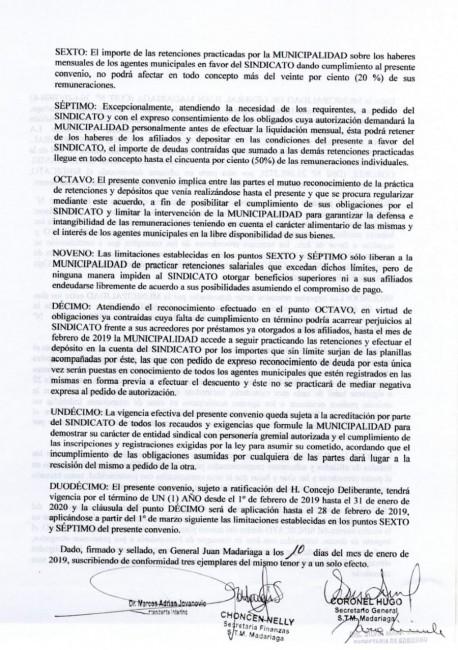 El municipio y el Sindicato fijaron límites de retención en los sueldo