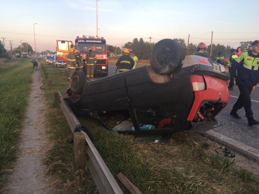 Vuelco en la Ruta 74: un herido fue trasladado al Hospital