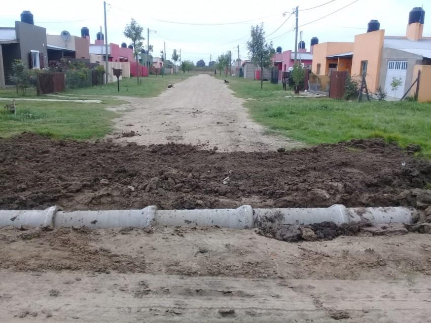 Colocaron tubos de desagües en el barrio El Ceibo