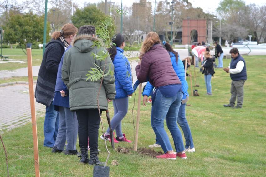 Alumnos y funcionarios plantaron árboles en el Paseo del Bicentenario