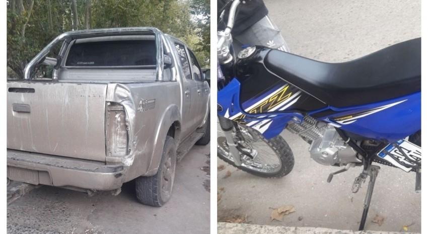 choque camioneta moto
