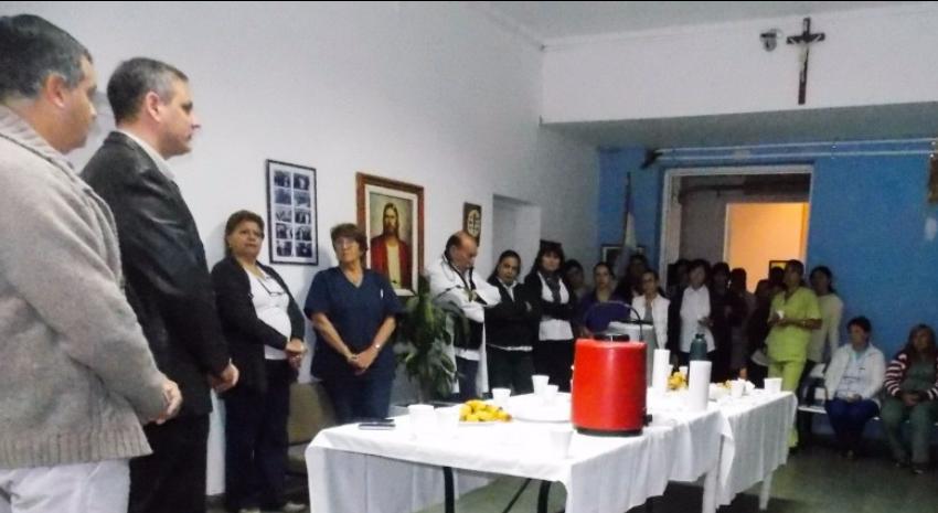 Desayuno de empleados del hospital con Esteban Santoro y Miguel Vallo