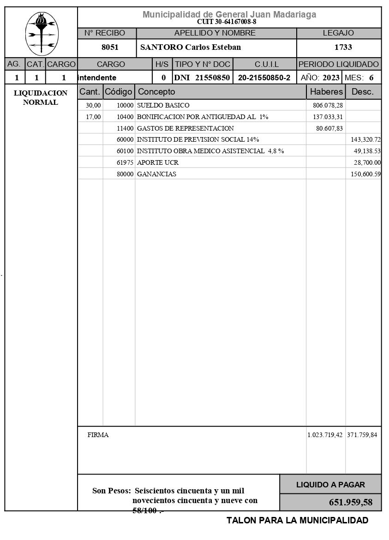 Recibo de sueldo de Carlos Esteban Santoro