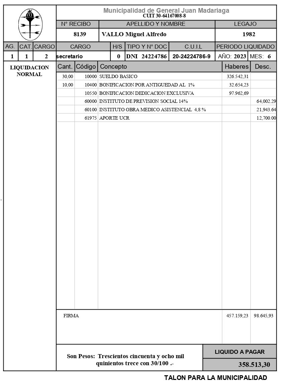 Recibo de sueldo de Miguel Vallo